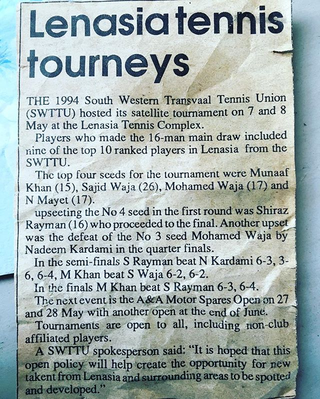 Stumbled upon this at my home in Lenz. My peace was on the court. Miss the days :) This tourney I was only 17 years old :) :)
