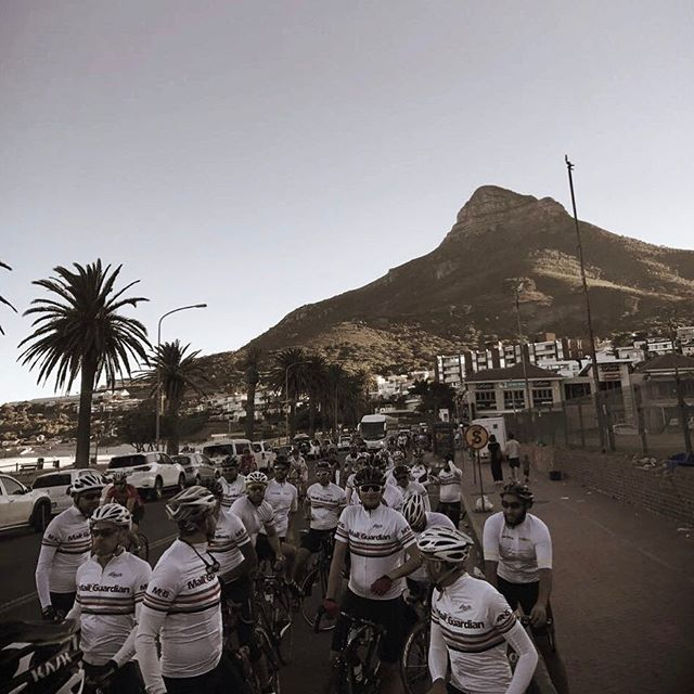 Mail and Guardian Team on the ritual am ride before the Cape Cycle Challenge race in Cape Town.