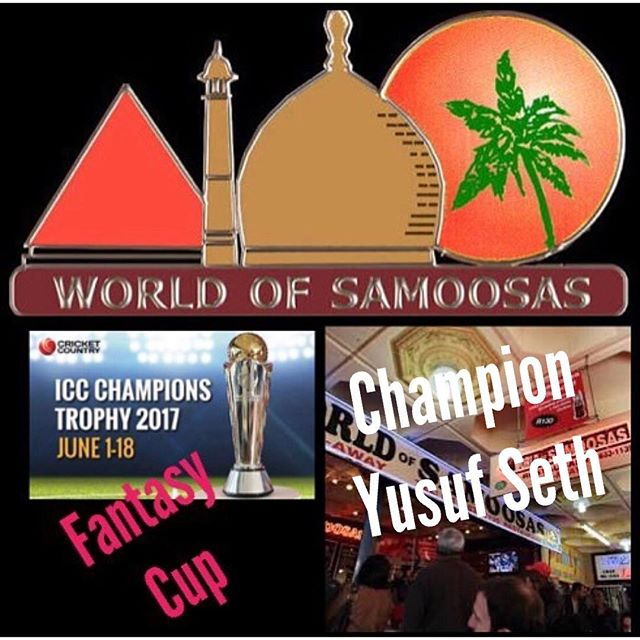 Congratulations to Our ICC Champions Trophy Fantasy Winner. Yes it's a Seth Again. Well done Yusuf Seth. Enjoy your meal for two after Ramadan ?