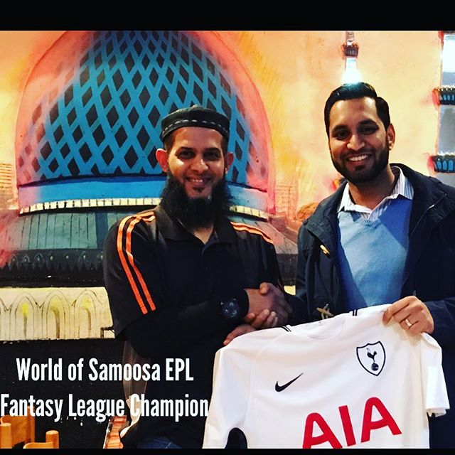 Congratulations to a 2016/17 World of Samoosa's EPL Fantasy League Champion Mashood Dagwood @mashood_dawood .He won the kit of his choice and a meal for two courtesy of the World of Samoosa's in the Oriental Plaza