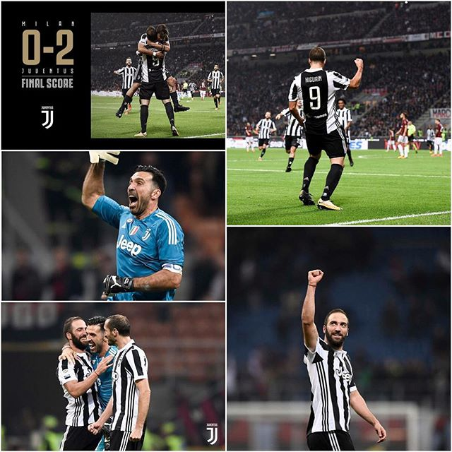AC Milan 0 Juventus 2. Great win for the Bianconeri. Higuain scored twice as we sink Milan.