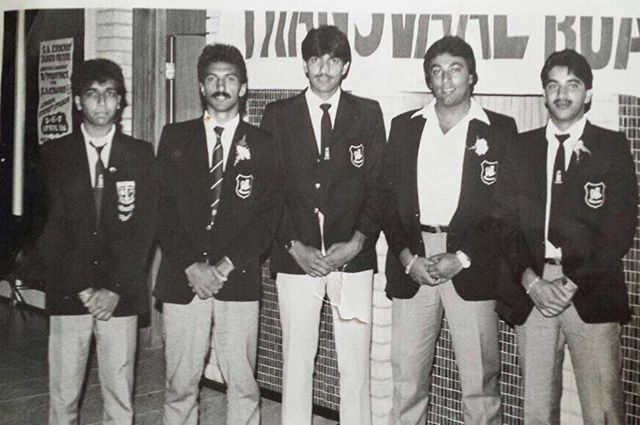 Our Legends pic of the day are these Cricketing Bozzas. (Left to Right) Hussein Manack, Vincent Barnes, Jack Manack, Barney Mohamed & Nazier Dindar. @abdulmanack @hussein.manack @vincentbarnes50