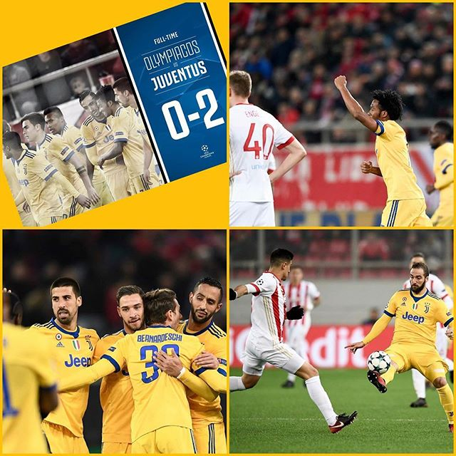 Juventus 2 Olympiacos 0. We qualify thanks to goals from Cuadrado and Benedeschki. Barsa also beat Sporting so no pressure on the night. We wait for Mondays draw. Forza Juve. First goal reached