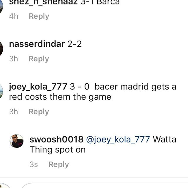 Well Done @joey_kola_777 . The Winner of our El Classico Competition