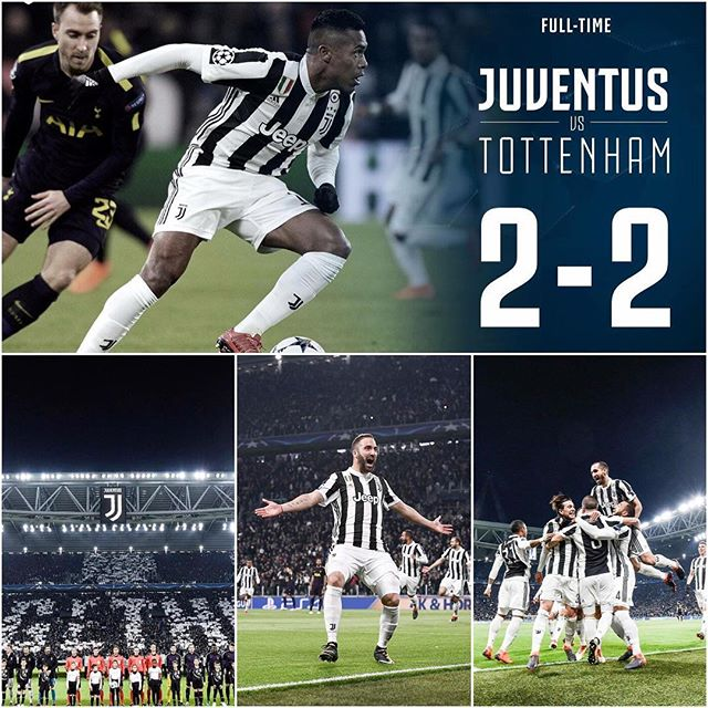 Juventus 2 Spurs 2. Well all to play for at Wembley. No draw. We lost a 2 goal lead but credit to Spurs. They played. Will the Higuain penalty miss prove costly. Forza Juve. Off to Wembley we Go -------------------------- In the other tie Man Citeh thumped Basel.