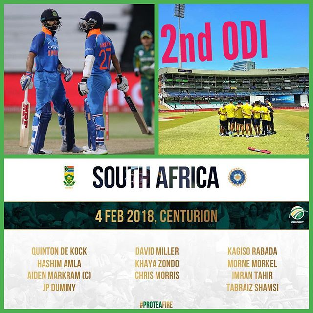 Nice morning to watch the 2nd ODI between India and South Africa at Centurion Park. India win the toss and elect to field. Four spinners on Show. Are you at the Cricket. Your thoughts on the match? *if you are at the Cricket send us your fan pics Inbox or email info@swoosh0018.com