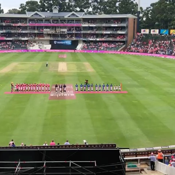 South African and Indian National Anthems during the PINK ODI by our 0018 Man on the scene @ebrahimlambat. How was the Cricket and SA victory