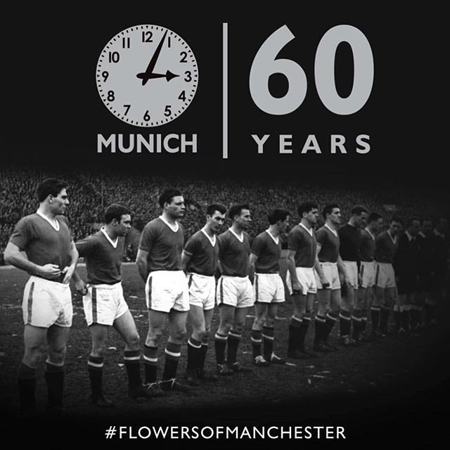 "Today is the day the Munich air crash happened. Il never forget on my visit to Old Trafford I met a fan that told me on the special European Nights especially at the Nou Camp in 99 ""Thw Ghosts of Munich"" descend onto the pitch. He said how else we've won games like that. He said Bobby Charlron in the midfield, Tommy Taylor and Duncan Edwards and Georgie Best on the wing. He said sometimes there are 22 players on the pitch. Eleven of them you can see, The others you can't. From that day in whenever the MANCS would pull off the impossible I would say the Ghosts of Munich for sure"