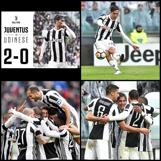 Juventus 2 Udinesi 0. Great victory. Now for Inter to beat Napoli. Forza Juve. Been a Great week