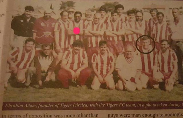 Tigers Managers & Officials played a Veterans Game back in the day. Can you Name them. My Dad in the line up too (Pink)The Good Days. (Circled Uncle Ebrahim Adam)