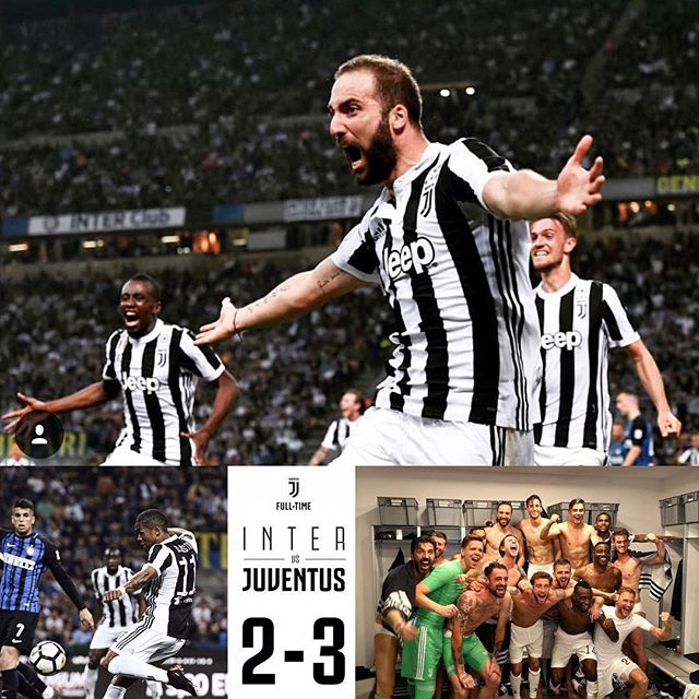 Inter Milan 2 Juventus 3. What a game. We were 2-1 Down against a Ten Men Inter. Made it 2-2 and then Higuain at the death. Now alls that left is for Napoli to falter. Forza Juve. Great Night & Victory and vital 3 points