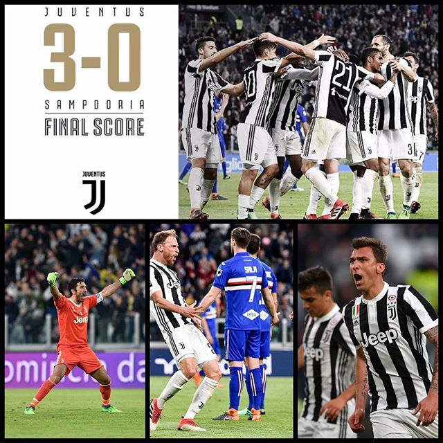 Juventus 3 Sampdoria 0. We open the gap to 6 points after Napoli drew at the San Siro against AC Milan