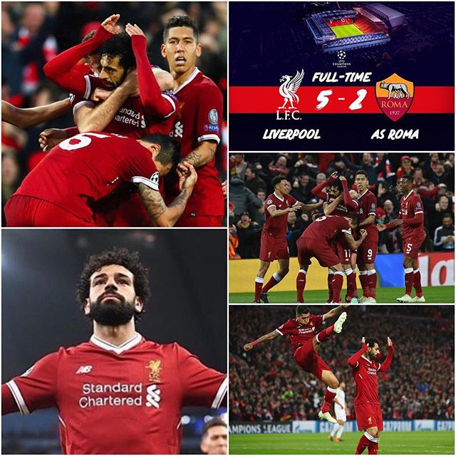 Liverpool 5 Roma 2. Shouldn't have conceded those two away goals. All roads lead to Rome. Can Roma get 3. What does the Lads from the KOP say