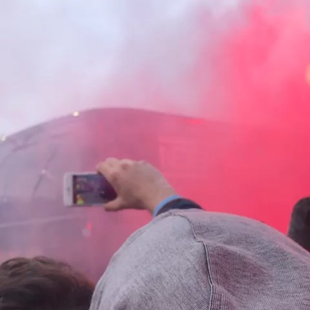 Liverpool Fans pelt and Stone the City Bus