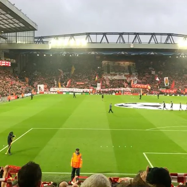 Liverpool Fans Sing during the UEFA Champions League seminal vs Roma at Anfield. The KOP UK Lads have described the atmosphere as Magical