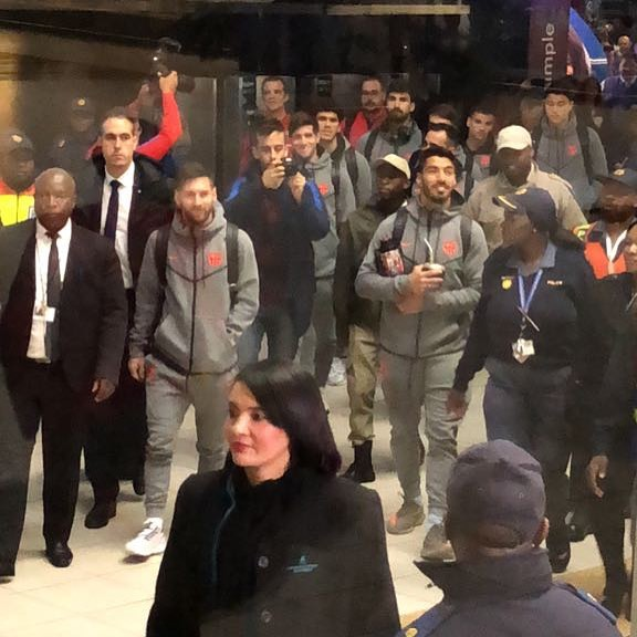 Barcelona arrive in South Africa. I really thought they were coming with under 14's