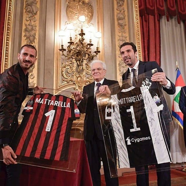 Calm before the Storm. Captains Buffon and Bonucci meet ahead of tonight's Copa Italia Final in Rome