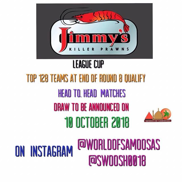 @jimmys_fordsburg League Cup in conjunction with @worldofsamoosas and @swoosh0018. Top 128 qualify. Pick well and don't forget there is a Gameweek Tonight