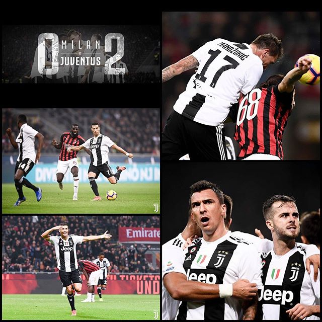 Juventus 2 AC Milan 0. Top game at then San Siro. Manzukic and Ronaldo secured the win for Juve. Drama as Higuain got sent off and missed a penalty after a class save from Schezny. Big Three points. Forza Juve. Time for International break #acmilanvsjuventus #milanvsjuventus #juve #juventus #forzajuve #sansiro #serieatim #cr7 #ronaldo