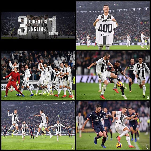 Juventus 3 Cagliari 1. Juve March on. Dybala,an own goal and Cuadrado added to Cagliaris woes on Saturday night. CR7 was also presented with a 400 captioned Juve shirt for scoring 400 goals in EPL,La Liga and Serie A. Now we wait for the MANCs in Turin and then face rivals Milan. Forza Juve. Things going well #juventus #alianzstadium #turin #juve #forzajuve #bianconeri #dybala #seriea #serieatim