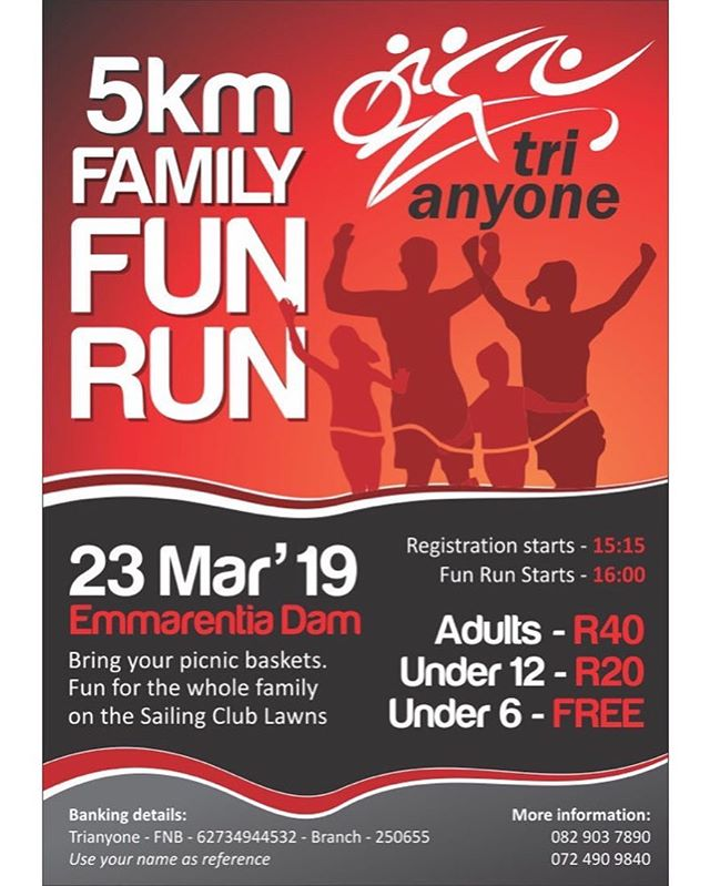 5km family Fun Run tmrw. Join and Enjoy the Day @trianyone#funrun #emmarentia #5kmrun #run #jhb #funrun