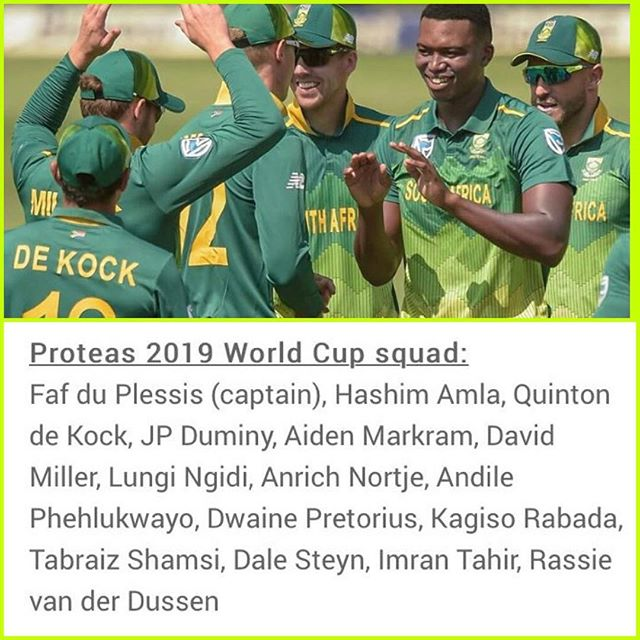 Proteas Squad for ICC 2019 Cricket World Cup. Your thoughts? Amla is in, Hendricks misses out. Also what are our chances for this World Cup. It's 20 years since the Tragedy of 99