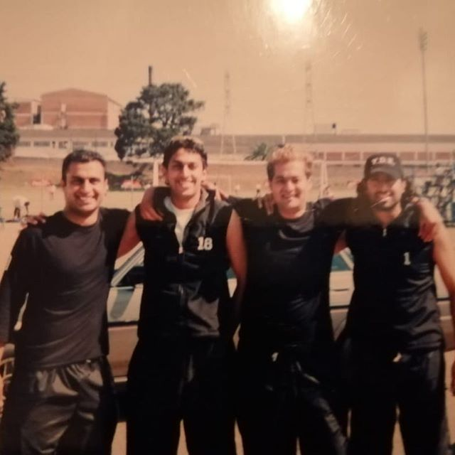 Blast from the past in the Dynamos Days. Zaheer Cassim,Myself, The Legendary Ebrahim Butch Badsha and Ahmed Patel. Watta Thing. Miss the chaps and the fitness ??#wattathing #18 #blastfrompast #dynamos #blochpark