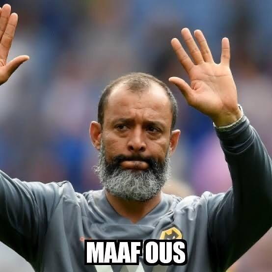 Sorry Citeh. Nuno Esposito D.S.S. Watta man. Masterminding the Wolves win last night over Citeh. Maaf Owes