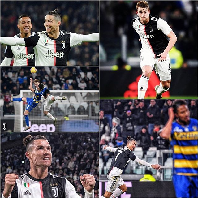 Juventus 2 Parma 1. Juve moved 4 points clear in Serie A thanks to a Ronaldo brace. CR7 In sublime form. Juve could have sealed the tie early but saw out a tough Parma outfit. Forza Juve. Next it's Roma in Coppa Italia and Napoli over the weekend #forzajuve #juventusvsparma #juve #bianconeri #juvefans #juventusfans #turin #alianzstadium #ronaldo #cr7 #seriea #serieatim