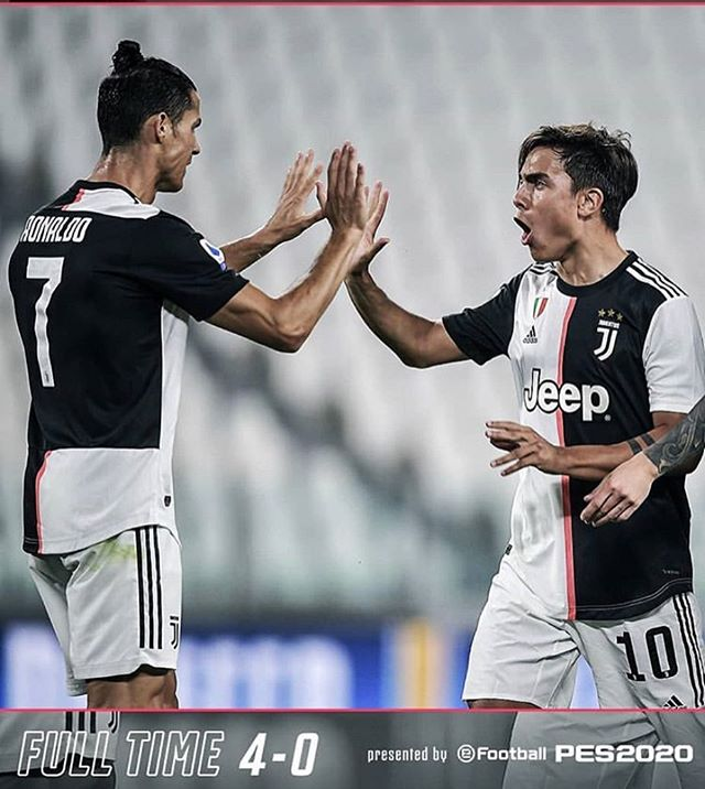 Juventus 4 Lecce 0. With results going our way we went seven points clear of Serie A and another cracker by Dybala and Ronaldo with two glorious assists. Of the result goes our way in Florence it a Big week in Serie AForza Juve