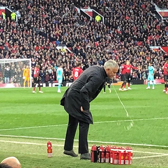 Jose Mourinho when they were 2-0 down. Pic by @pizzaman1 who was at Old Trafford makes our pic of the day. Is Mourinho staying or going ?