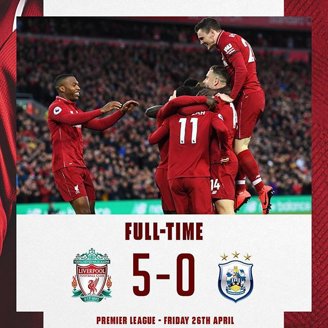 Liverpool 5 Huddersfield 0. Emphatic victory. Now can Burnley pull a result. Pressure on Citeh. Can they buckle